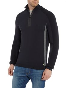 Hugo Boss Zavia zip neck rib sleeve detail jumper