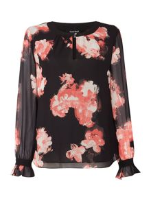 Ellen Tracy Long sleeve floral print cuffed blouse