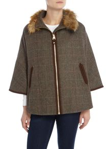 Joules Fur Neck Tweed Cape