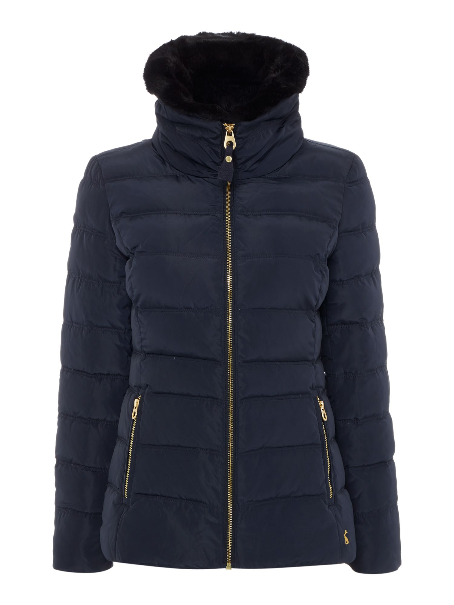 Joules Padded Jacket With Faux Fur Trim, Navy