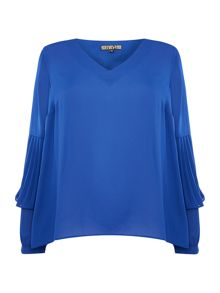 Biba V neck pleat sleeve blouse