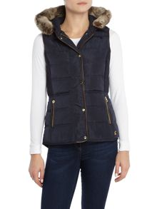 Joules Faux Fur Hooded Quilted Gilet