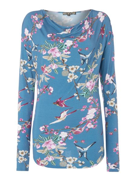 Biba Printed bloom cowl neck tee