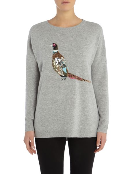 Joules Drop Shoulder Embellished Intarsia Jumper