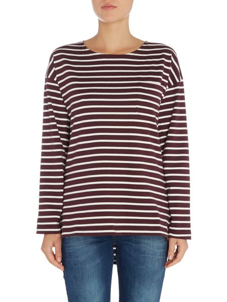 Joules Drop Shoulder Striped Jersey Top