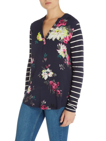 Joules V Neck Woven Front Jersey Back Top