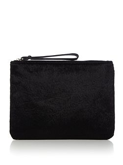 Black pony pouchette bag