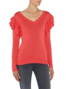 Lost Ink Long Sleeved Ruffle Knitted Jumper