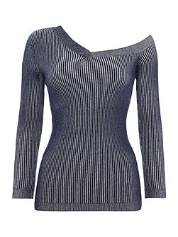 Long Sleeved Bardot Knitted Top