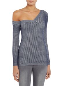 Lost Ink Long Sleeved Bardot Knitted Top