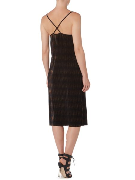 Therapy Bronze Foil Plisse Cami Dress