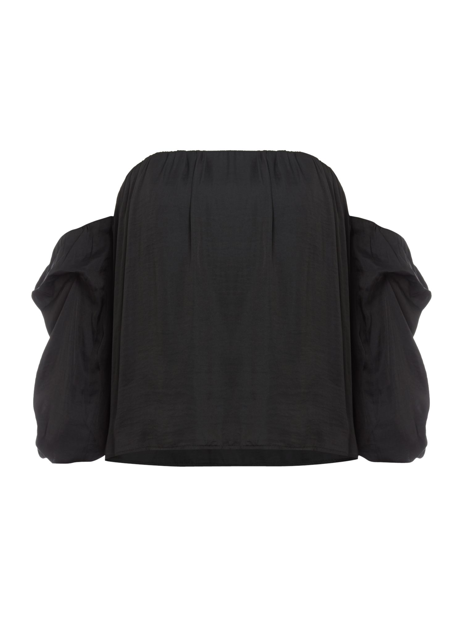 Bardot Off Shoulder Puff Sleeve Crop Top, Black