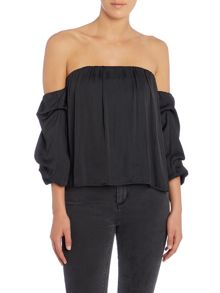 Bardot Off Shoulder Puff Sleeve Crop Top
