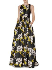 Adrianna Papell Full Skirt Floral Jacquard Ball Gown