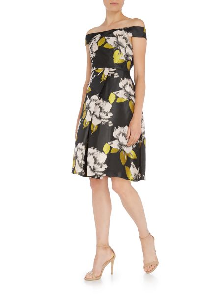 Adrianna Papell Off Shoulder Floral Jacquard Dress