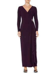Lauren Ralph Lauren Long sleeve gown with embellished pin