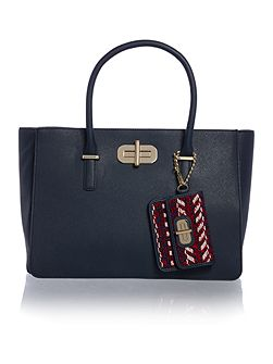 Turnlock Navy Medium Satchel Bag