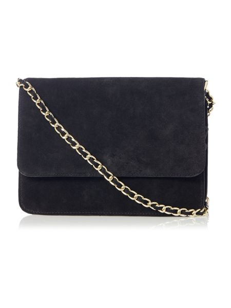 Pieces Black Suede Flapover Crossbody Bag