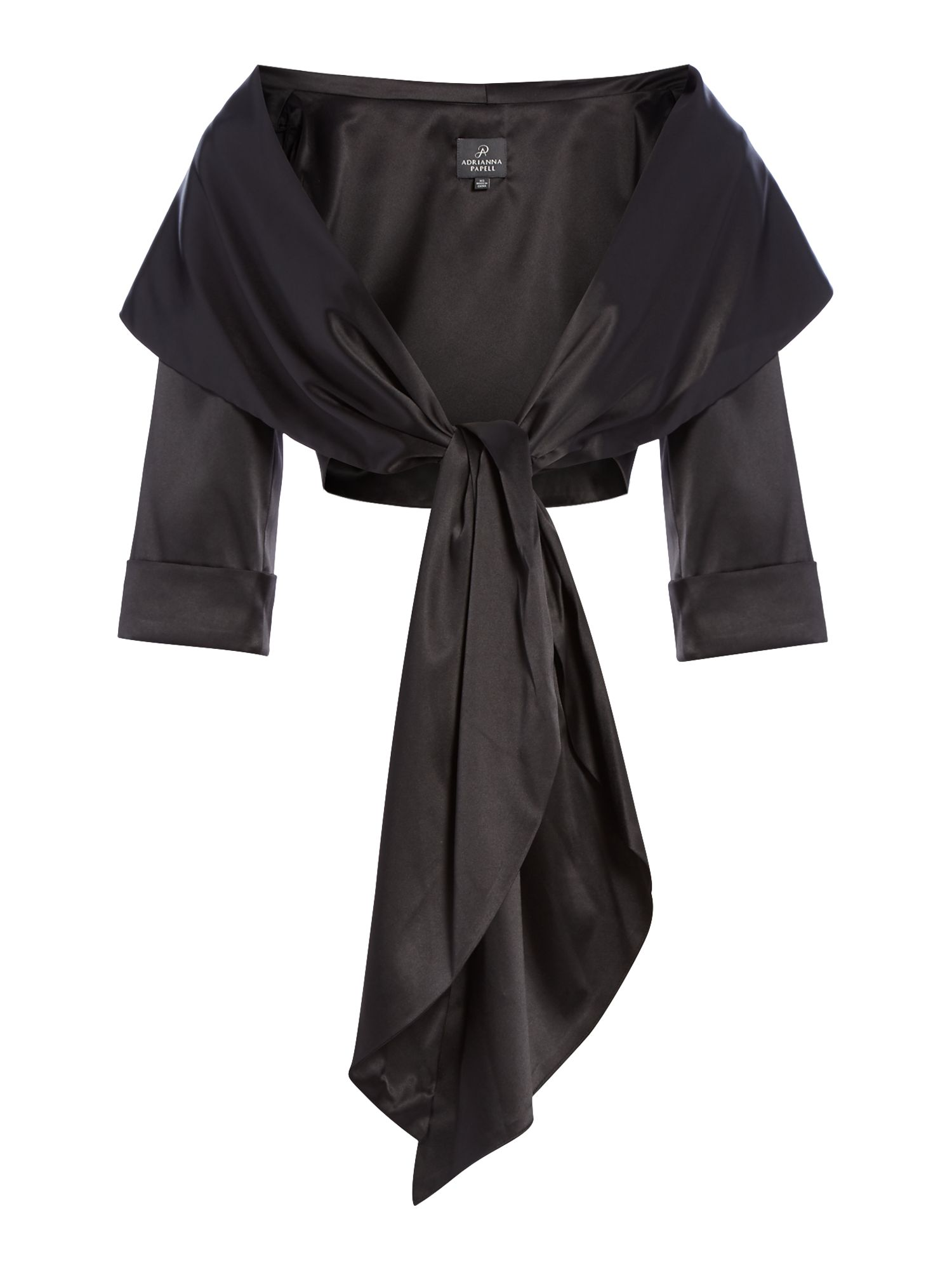 Adrianna Papell Satin Wrap Jacket, Black