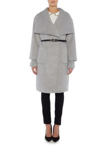 Lost Ink Long Sleeved Ribbed Wrap Coat