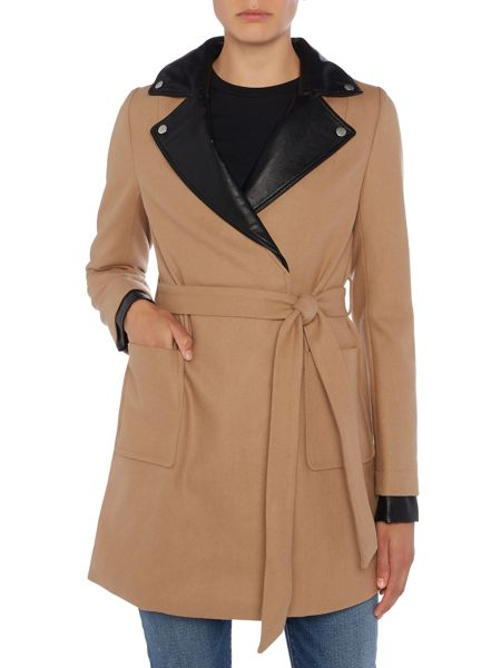 Lost Ink Long Sleeved PU Collared Coat
