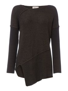 Label Lab Keppel khaki plaited rib jumper