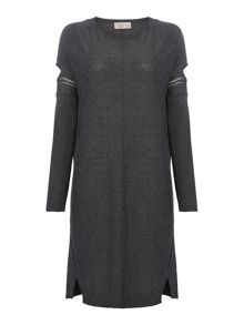 Label Lab Marlow charcoal cold shoulder jumper dress