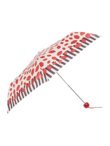 Lulu Guinness Lip print striped edge superslim umbrella