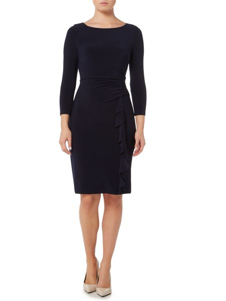 Lauren Ralph Lauren Ruched ruffle 3/4 sleeve dress