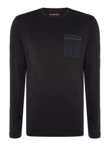 Michael Kors Woven pocket long sleeve t shirt