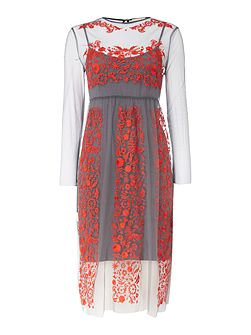 Sheer Embroidered Midi Dress