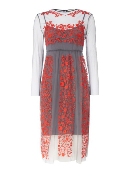 Little White Lies Sheer Embroidered Midi Dress