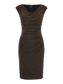 Lauren Ralph Lauren Metallic chevron cowl neck dress