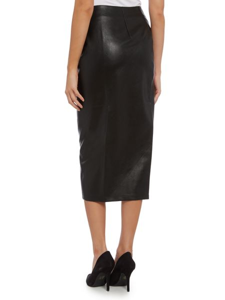 Lost Ink Zip Through PU Pencil Skirt