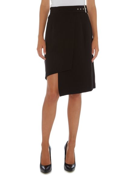 Lost Ink Belted Asymetric Wrap Mini Skirt