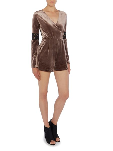 Lost Ink Long Sleeved Wrap Playsuit with Lace Back