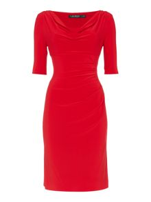 Lauren Ralph Lauren Cowl neck ruched dress