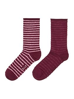 Bamboo socks with feather stripe detail 2 pack