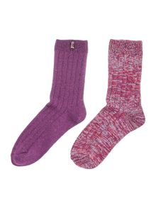 Elle Chunky ribbed 2 pair pack boot sock