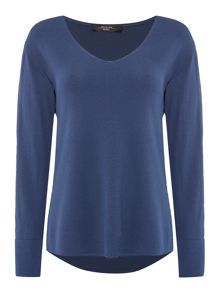 Max Mara FIANCO v neck dipped hem knit