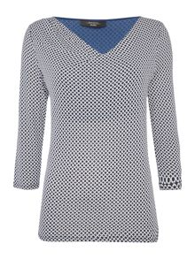 Max Mara BRONTE 3/4 sleeve circle print top