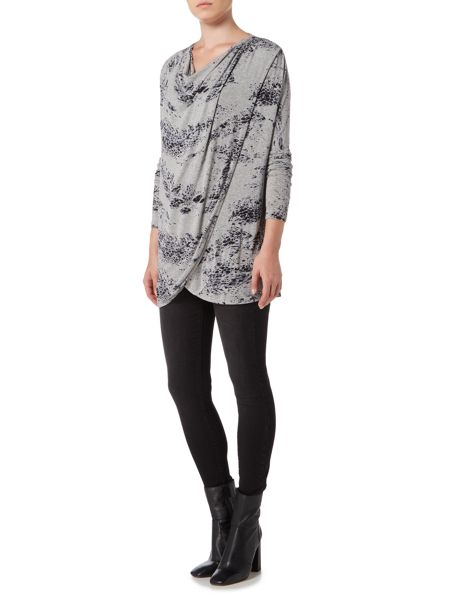 Label Lab Feather print wrap over cowl knit jumper