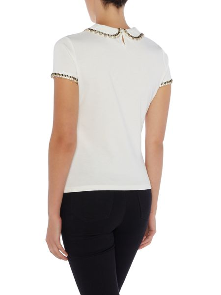 Lost Ink Cap Sleeve Embellished Collared Top