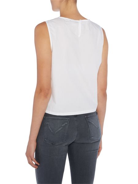 Lost Ink Sleeveless Bow Hem Top