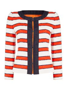 Max Mara CINTO striped linen jacket with trim