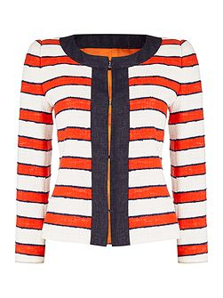 CINTO striped linen jacket with trim