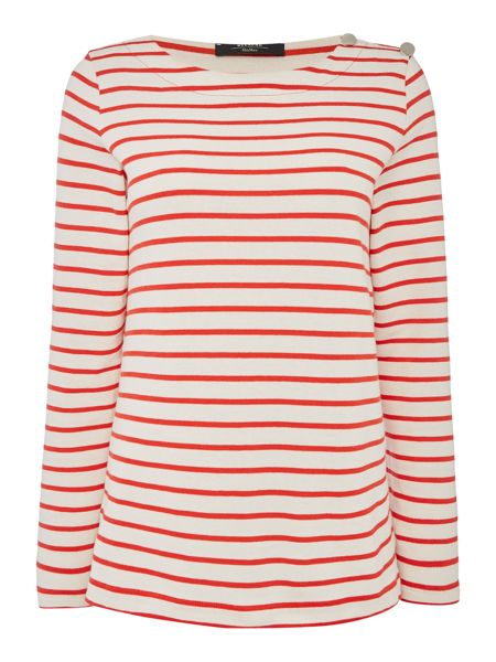 Max Mara RABBINO longsleeve stripe top with button detail