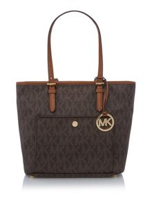 Michael Kors Jetset item brown medium pocket tote bag