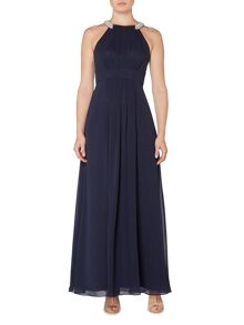 Eliza J Chiffon gown with crystal halterneck
