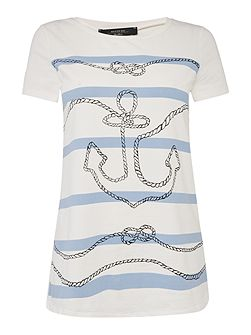 EUFRATE short sleeve anchor print t-shirt
